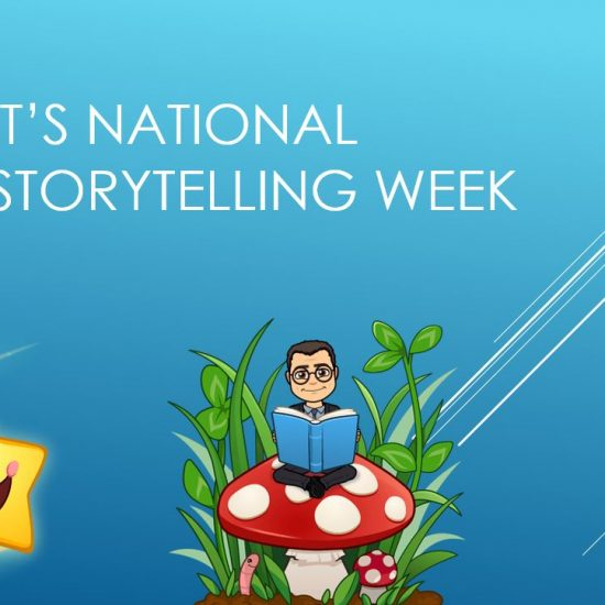 National Storytelling Week poster with cartoons of a man wearing glasses going on numerous adventures.