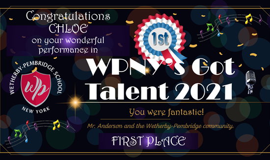 The first place announcement for the WPNY's Got Talent show 2021.